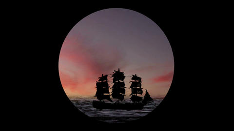 Pirate/Colonial Sailboat at Sunset Through Telesco Stock Video Footage