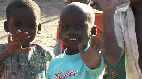 0858 African Childern Waving Footage