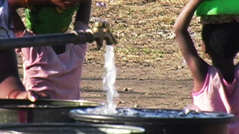 0861 Getting Water from well in Africa Footage