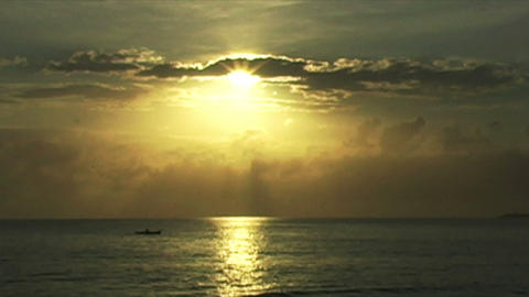 0888 African Sunrise Over the Indian Ocean with Fi Footage