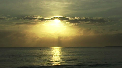 0888 African Sunrise Over the Indian Ocean with Fi Stock Video Footage