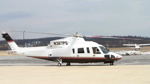 0937 Helicopter Starting Up at Airport Footage