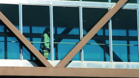 0951 Women Walking on Glass Bridge Commuiting Footage