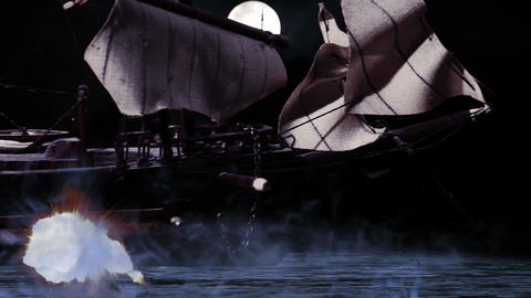 0969 Pirate/Colonial Sailboat Fighting at Night Footage