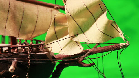 0971 Pirate Sailboat with Green Screen Stock Video Footage