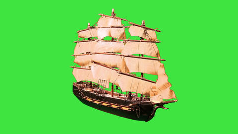 0973 Pirate Sailboat with Green Screen Footage