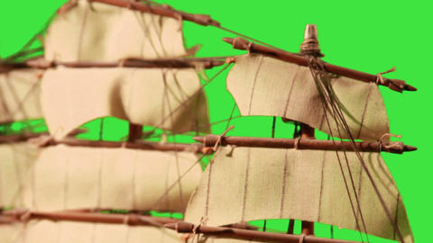 0975 Pirate Sailboat with Green Screen Stock Video Footage