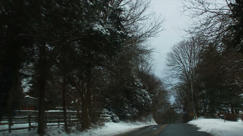 0719 Driving in Snow through the Trees, Slow Motio Stock Video Footage