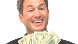 Businessman happy with his money Footage