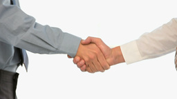 Businessman shakes hand with his coworker Stock Video Footage