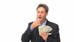 Businessman kissing his money Footage
