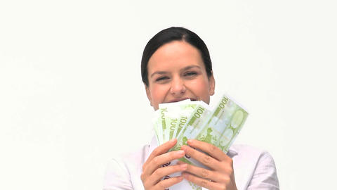 Businesswoman hugging her money Footage
