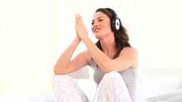 Superb woman listening music Footage