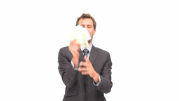 Businessman holding euro notes Stock Video Footage