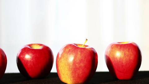 0623 Apples in a Row Stock Video Footage