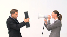 Businesswoman shouting through a megaphone Footage