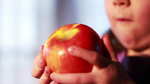 0632 Child Eating an Apple , Slow Motion Footage