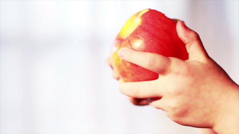 0633 Child Eating an Apple , Slow Motion Stock Video Footage