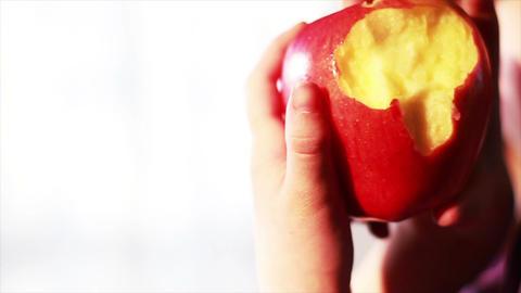 0633 Child Eating an Apple , Slow Motion Footage