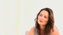 Pensive woman drinking tea Footage