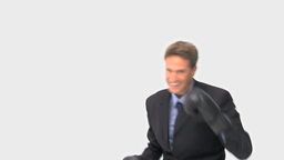 Businessman with black boxing gloves Stock Video Footage