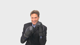 Businessman with black boxing gloves Footage