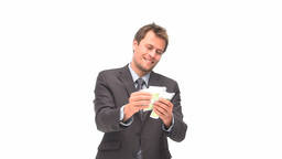 Businessman showing euro notes at the camera Footage