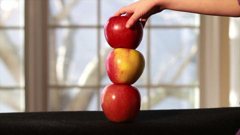 0639 Apples On Top of Each Other with Tree in Back Footage