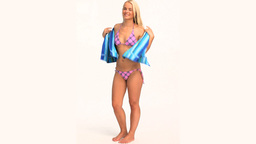 A wonderful blond woman in swimsuit Stock Video Footage