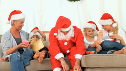 Family celebrating Christmas Footage