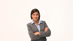 Brunette businesswoman folding ones arms Stock Video Footage