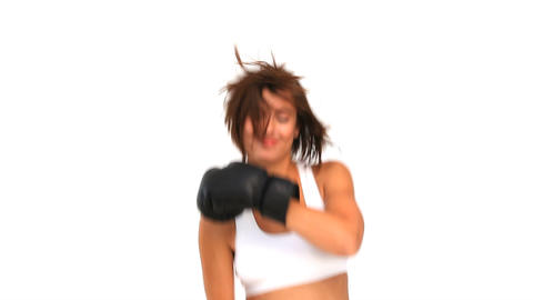 Coquette woman in sportswear with boxing gloves Footage