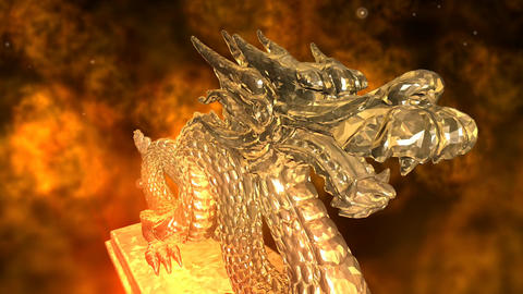 Animation Of A Dragon With Fire stock footage
