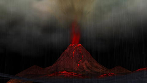 Animation Of A Volcano Eruption stock footage