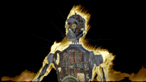 Amination Of A Flaming Cyborg stock footage