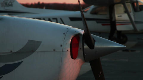 Man getting out of Airplane at Sunset Footage
