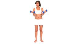 Brunette sportswoman using dumbbells Stock Video Footage