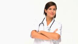 Attractive brunette nurse Footage
