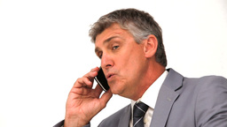 Angry businessman phoning Footage