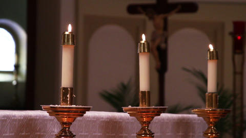 0693 Candles And Cross , Church stock footage