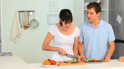 Young couple cooking Footage