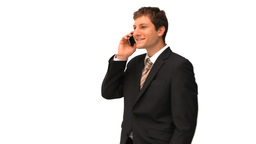 Young businessman taking a phone call Footage