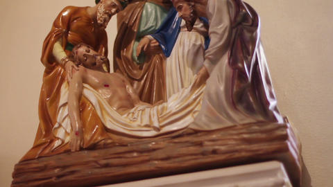 0694 Statue of Jesus 's Death Stock Video Footage