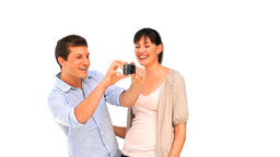 Loving couple with a camera Footage