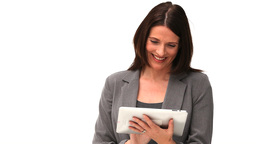 Business woman using a touch pad Stock Video Footage