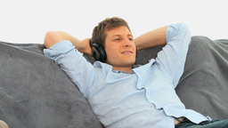 Relax man listening to music Stock Video Footage