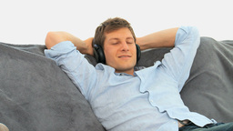 Relax man listening to music Footage