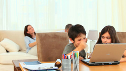 Children using a computer Stock Video Footage