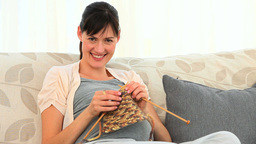 Future mother knitting Footage