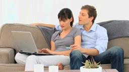 Couple buying something on internet Footage